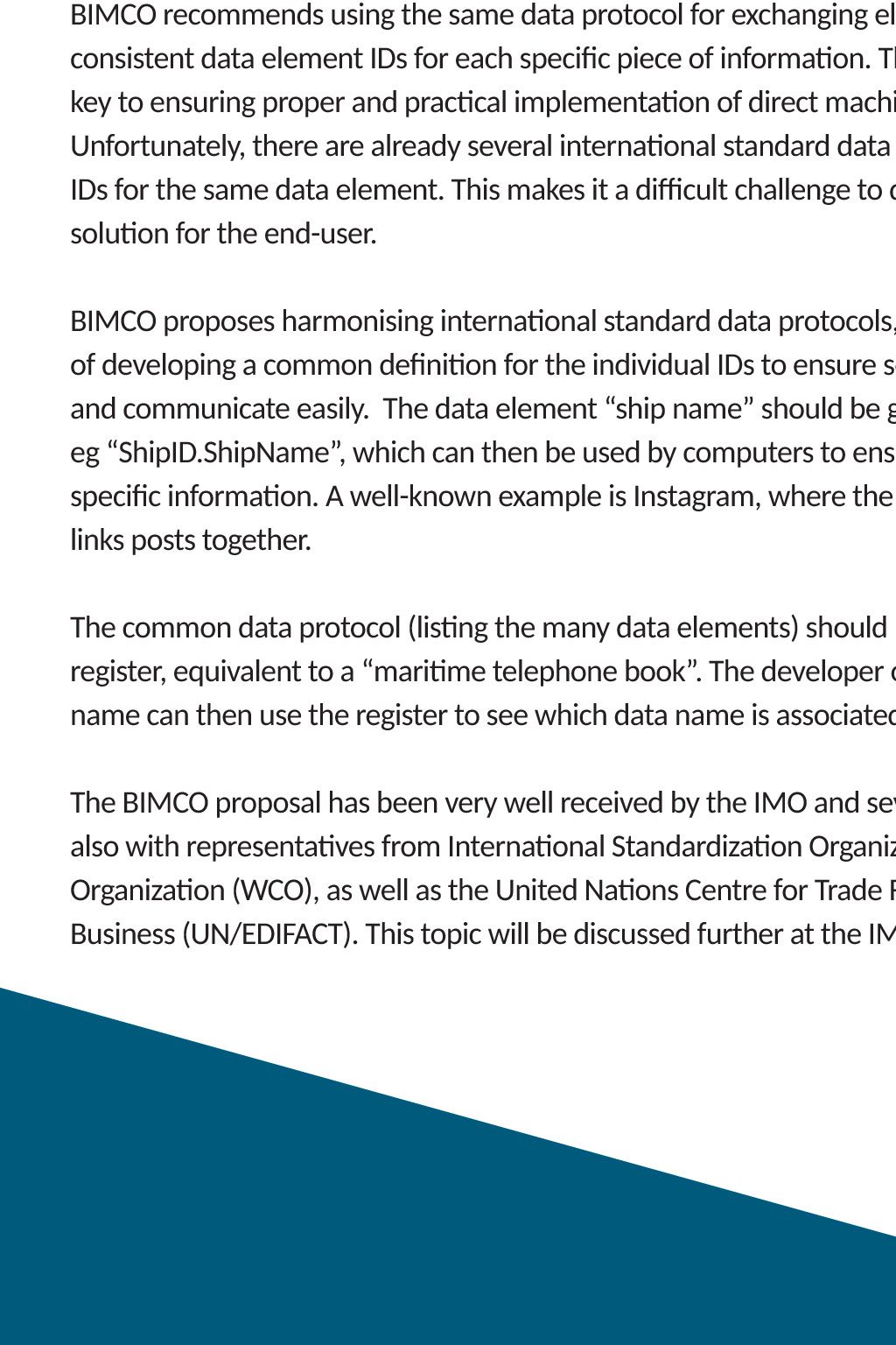 Standardisation - BIMCO Bulletin