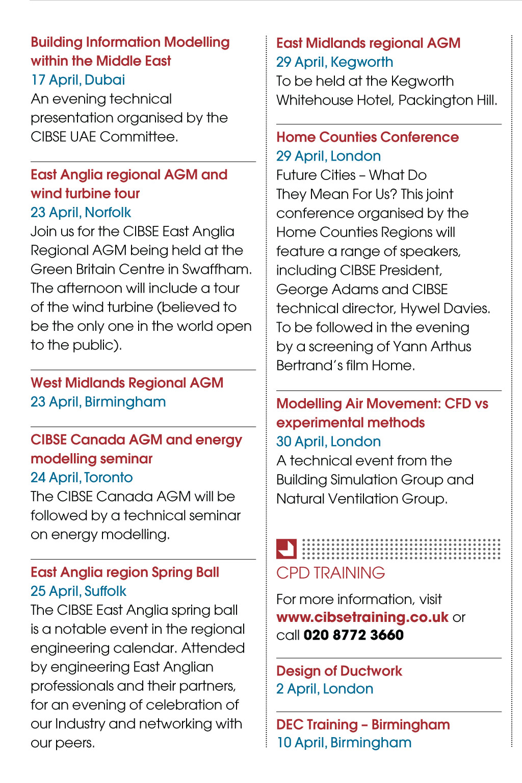 Events & Training - CIBSE Journal April 2014