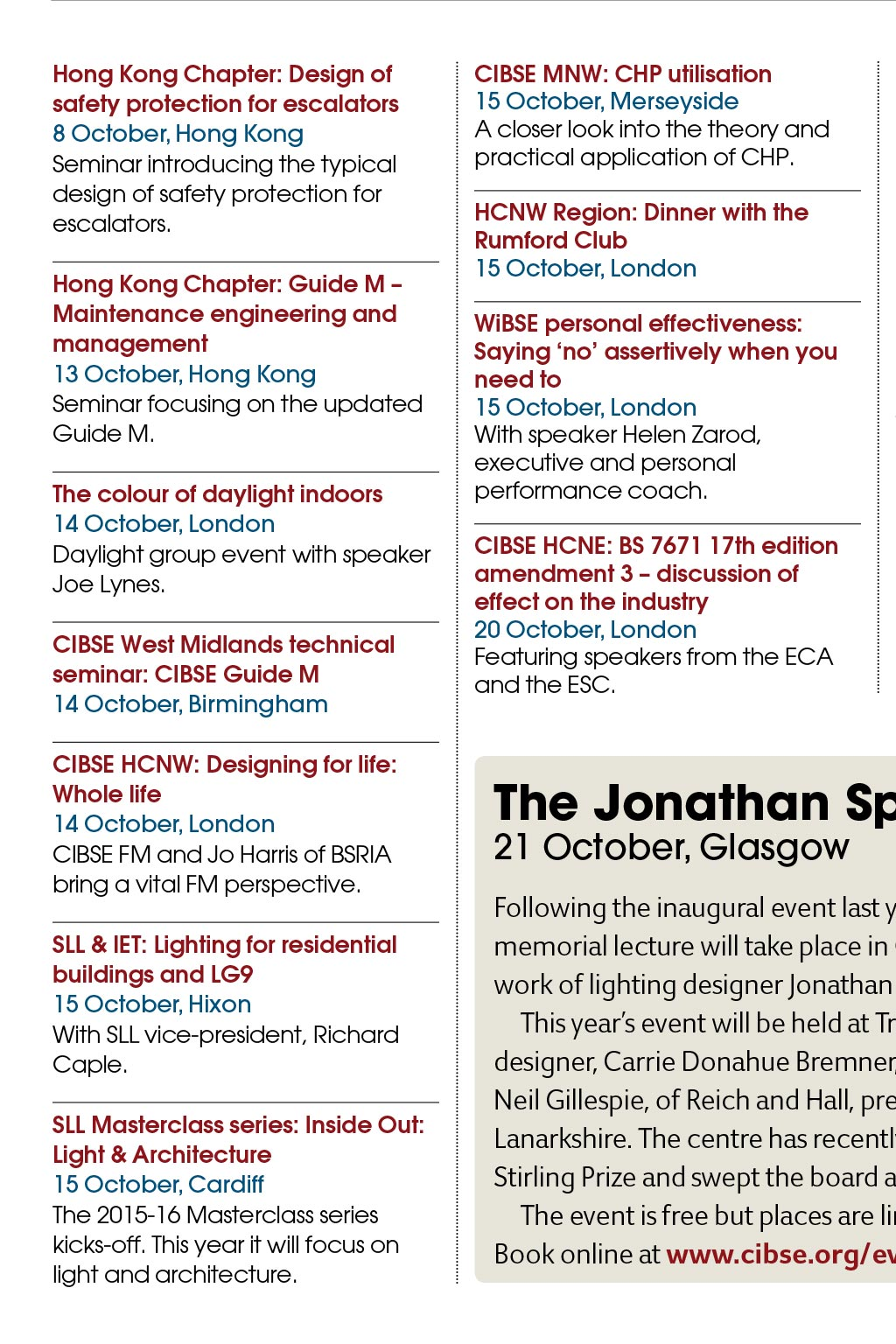 Events - CIBSE Journal - October 2015
